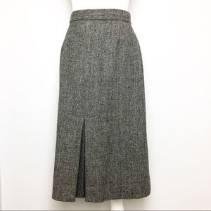VTG Tweed Wool Knit A Line Pencil Midi Skirt 12 L